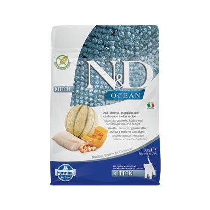N&D OCEAN CAT Kitten Cod & Shrimp & Pumpkin&Melon 300g