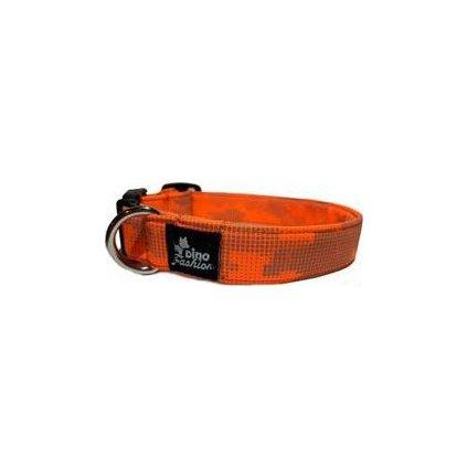 Obojek DINOFASHION Reflexní oranžovo-šedý 55/3cm
