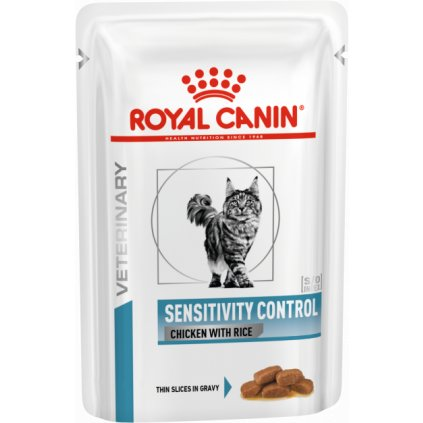 Veterinary Health Nutrition Cat Sensitivity Control Chicken&Rice Pouch 12x-0.85Kg