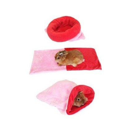 Spací pytel 3v1 sv.růžová/červená MINI hlodavci h.15
