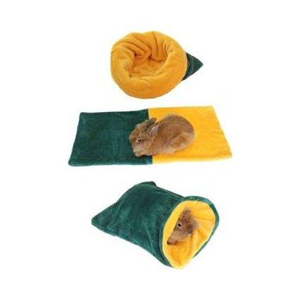 Spací pytel 3v1 tm.zelená/žlutá MINI hlodavci h.16
