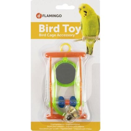 Hračka pták plast bidýlko+zrcátko+zvonek Flamingo