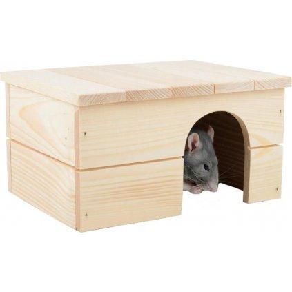 Domek dřevo králík rovná střecha 21 x 18 x 13 cm