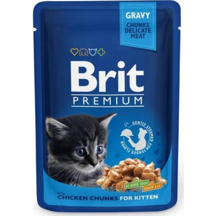 Brit Premium Cat kaps. -Gravy Chicken Chunks for Kitten 100 g