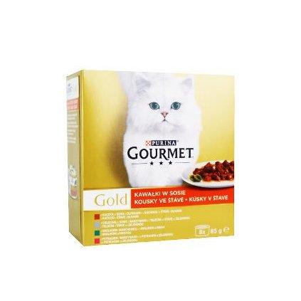Gourmet Gold Mltp konz. kočka kousky ve šť.zelen.8x85g