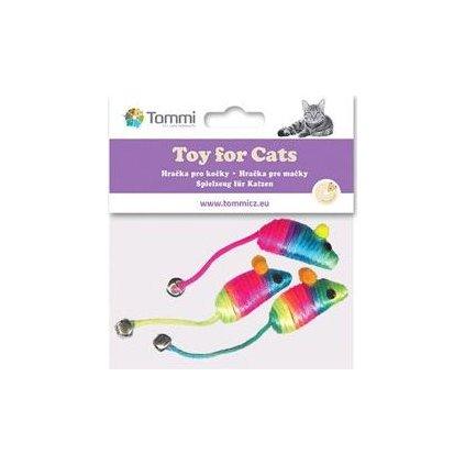 Hračka kočka Myška 5cm rainbow s rolničkou/3ks