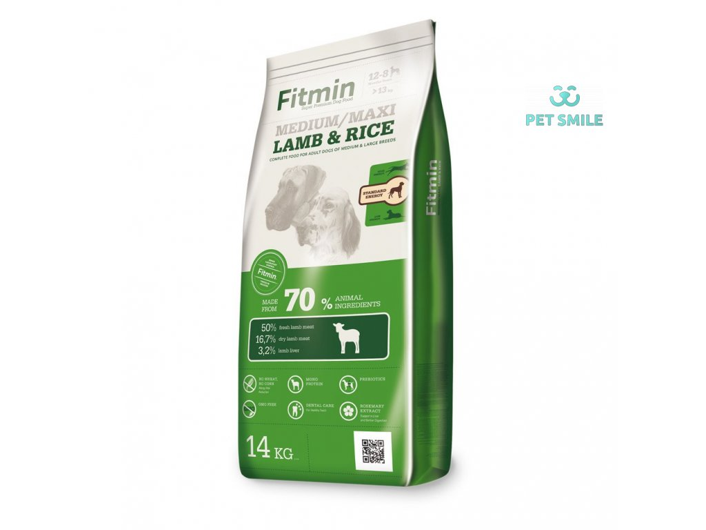 Fitmin dog mini lamb&rice - 14 kg  + Fitmin Dog - Natural kost s dršťkami 1 kus