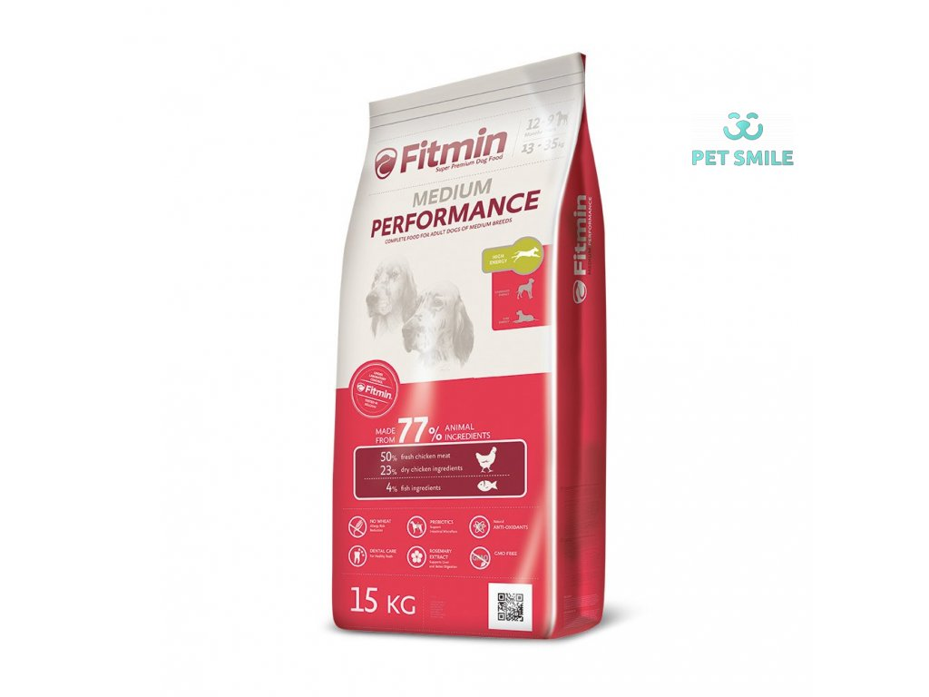 Fitmin dog medium performance - 15 kg  + Fitmin Dog - Natural kost s dršťkami 1 kus
