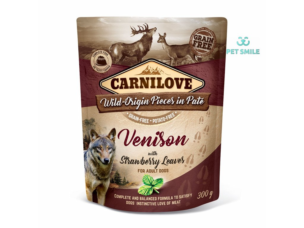Carnilove Dog Pouch Paté Venison with Strawberry Leaves 300g