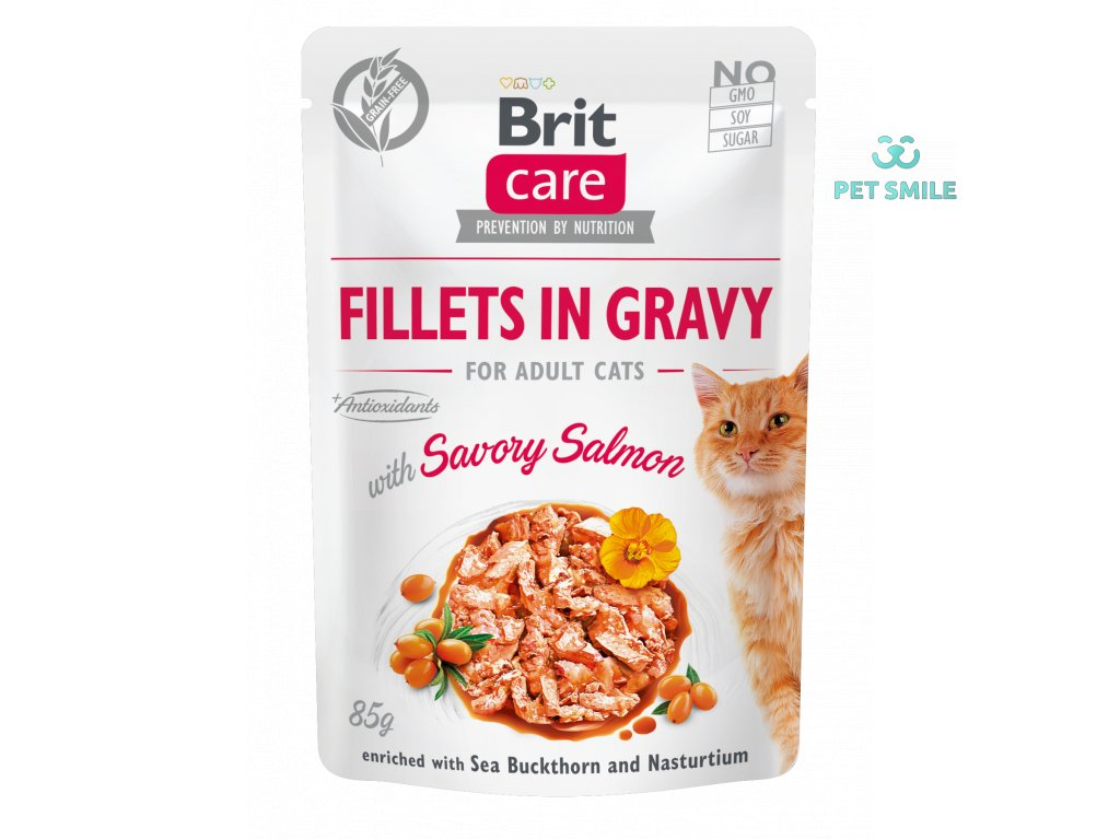 Brit Care Cat Fillets in Gravy with Savory Salmon 85g