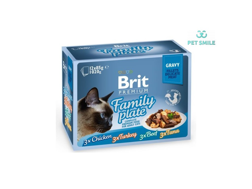 Brit Premium Cat Delicate Fillets in Gravy Familly Plate 1020g (12x85g)