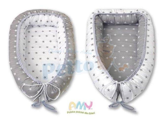 AMY Kokon - hnízdo - pro miminka šedobílé hvězdičky