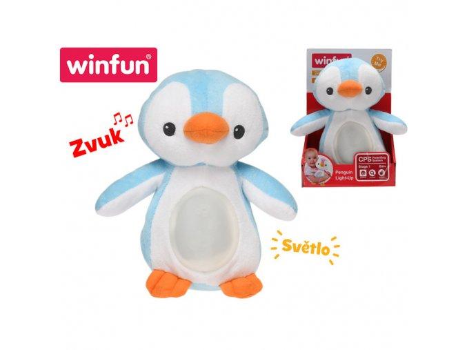 winfun Lampička tučňák 22cm plyšový stojící měnící barvu