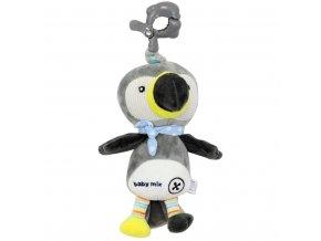 detska plysova hracka s hracim strojkem baby mix tukan sedy