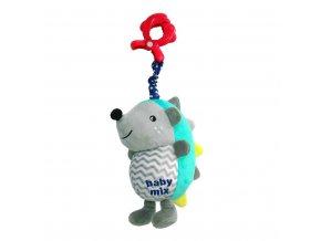 detska plysova hracka s hracim strojkem baby mix jezek modro sedy