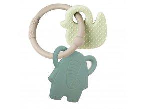 anneau de dentition silicone elephant vert de gris