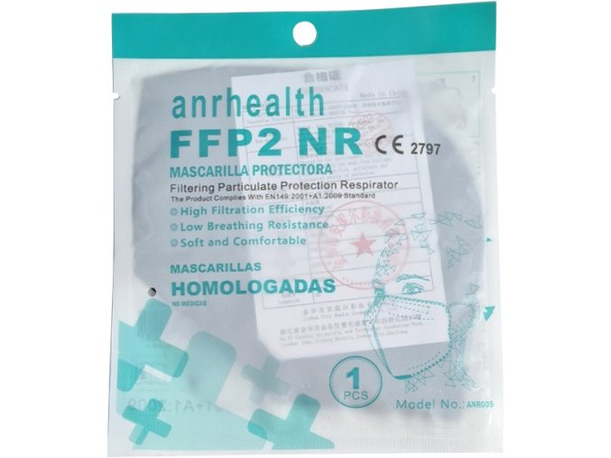 Respirátor FFP2 ANRHEALTH NR, daň prominuta