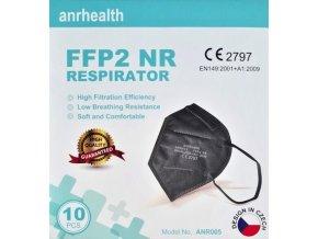 Respirátor FFP2 ANRHEALTH NR BLACK 10ks, daň prominuta