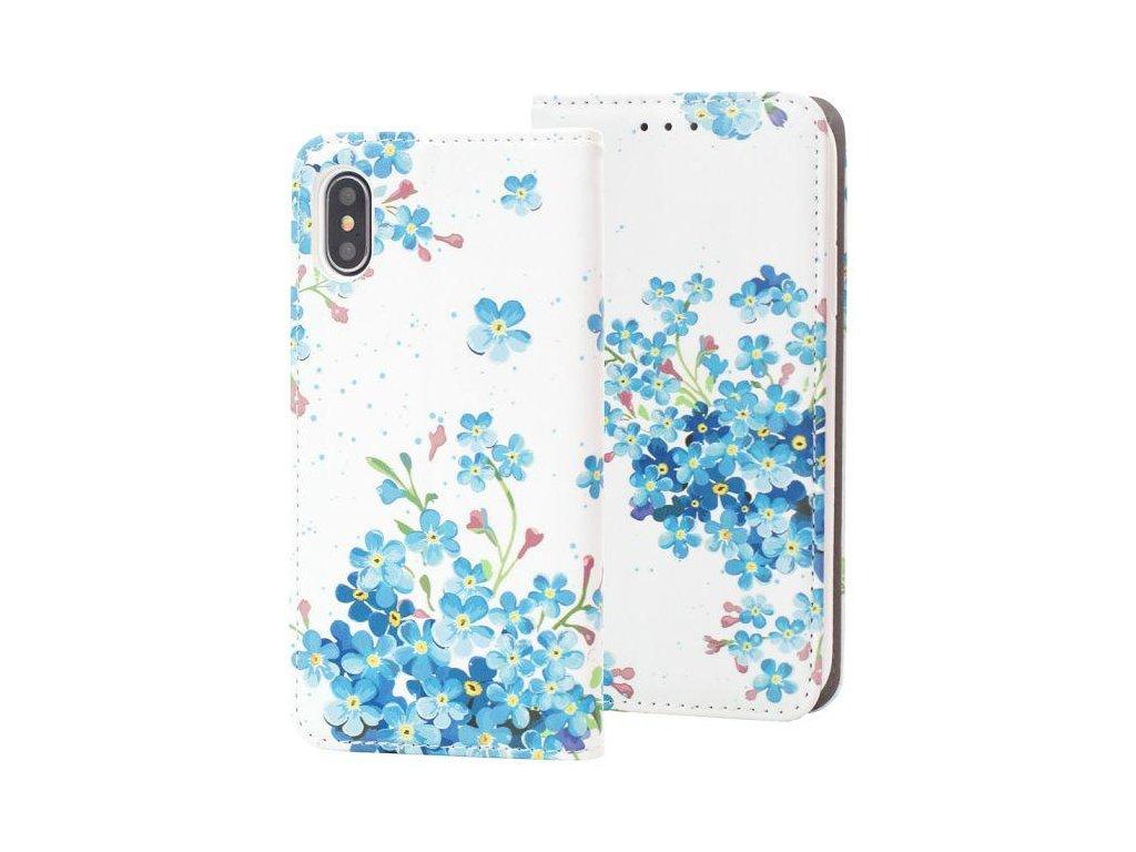 Flip pouzdro na iPhone X modré květiny