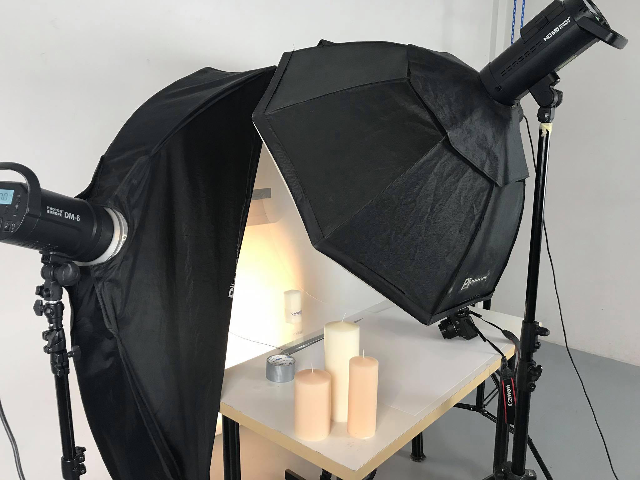Produktové focení svíček se záblesky