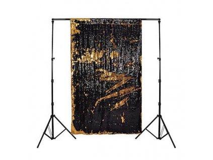 3000 dvoubarevne flitrove pozadi 2 6x2 6m barva cerna zlata
