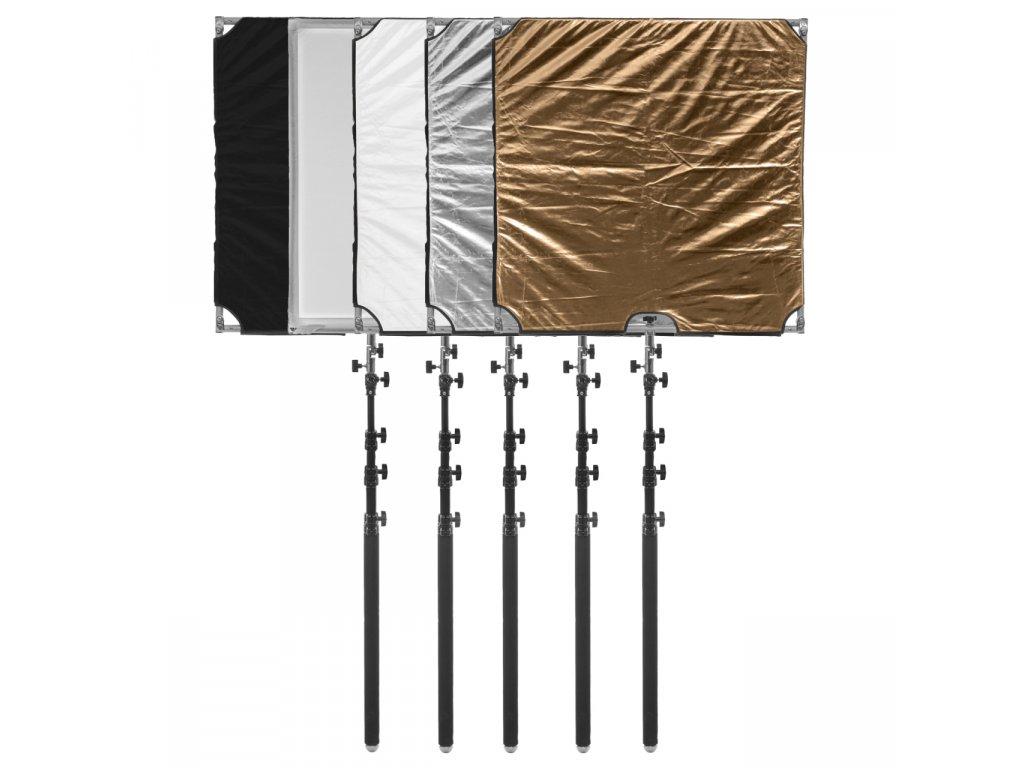 11930 mobilni odrazny panel 110x110cm set 5v1 rychlorozkladaci
