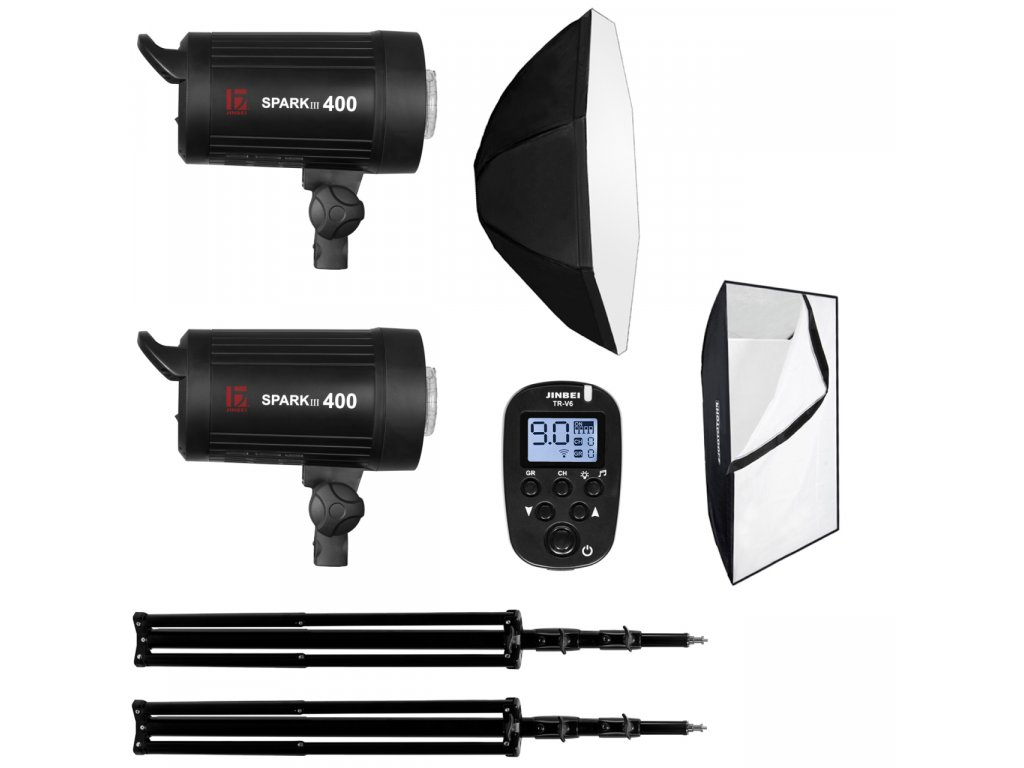13967 set blesku 2x spark iii stativy odpalovac octabox softbox
