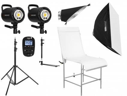 Set blesků 2x SPARK 400D, stativ, odpalovač, stůl, softbox, reflektor na pozadí