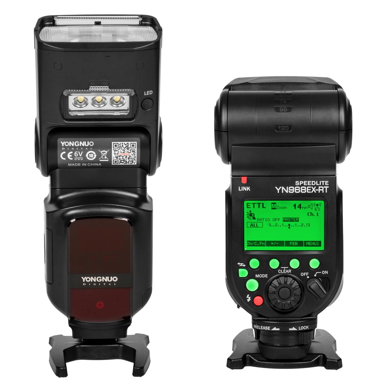 Externí systémový blesk s LED přisvícením YONGNUO YN968EX-RT Canon, GN60