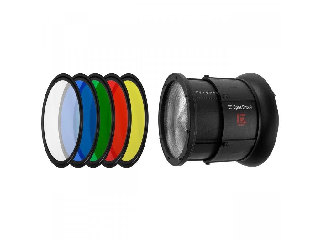Komínek Spot Snoot s Fresnelovou šošovkou a farebnými filtrami pre LED svetlá