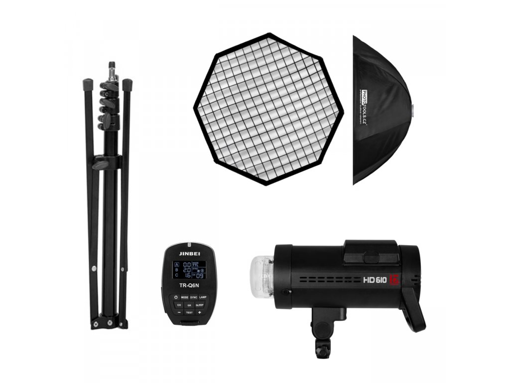 Batériový blesk HD 610 NIKON set - blesk, odpaľovač, statív, softbox