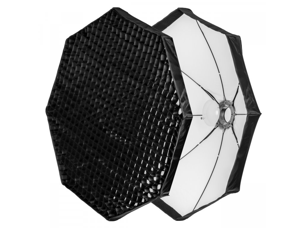 Beauty dish 120 cm biely rýchlorozkladací s voštinou, adaptér Bowens