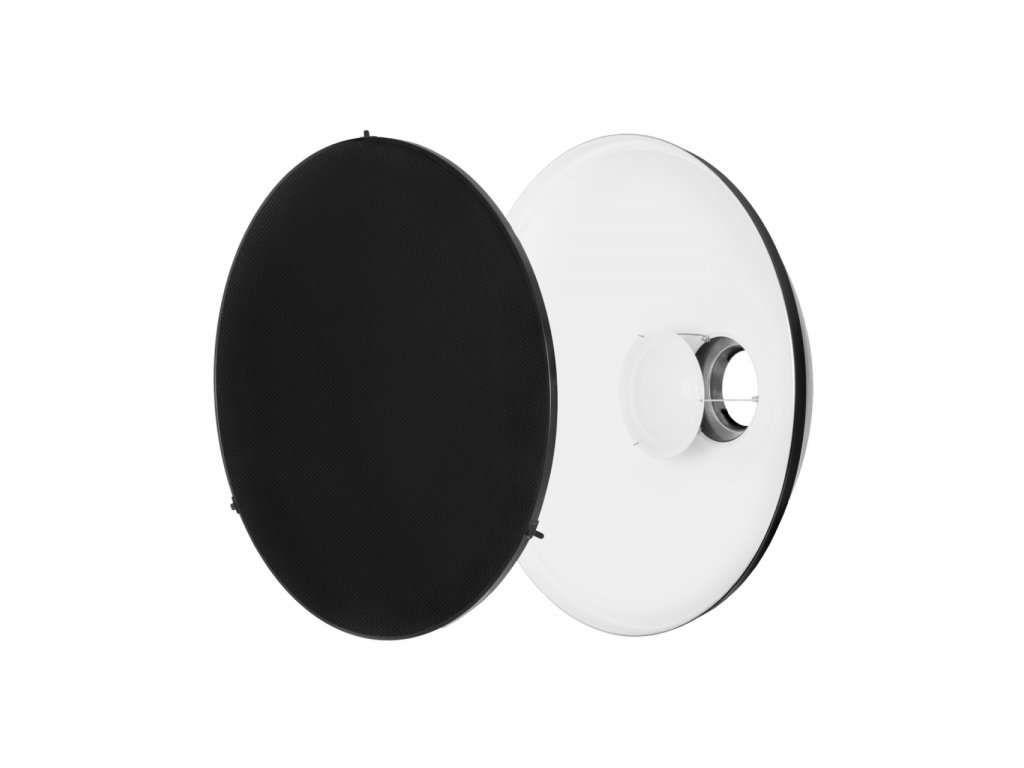 Beauty dish 56 cm biely s voštinou, adaptér Bowens