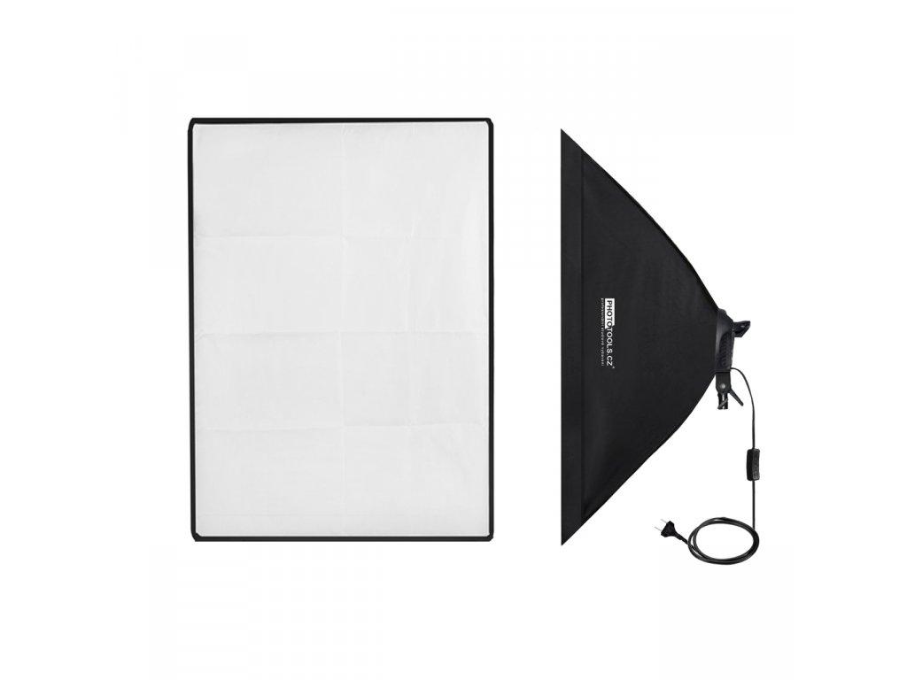 Trvalé svetlo pre 4 žiarovky E27, softbox 50x70cm G804D-1