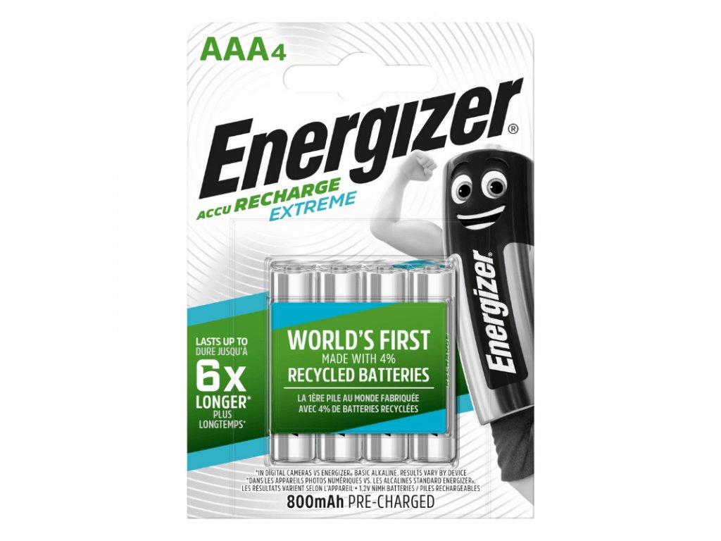 Nabíjacie batérie AAA / HR03 Energizer Extreme 800 mAh, blister 4 ks