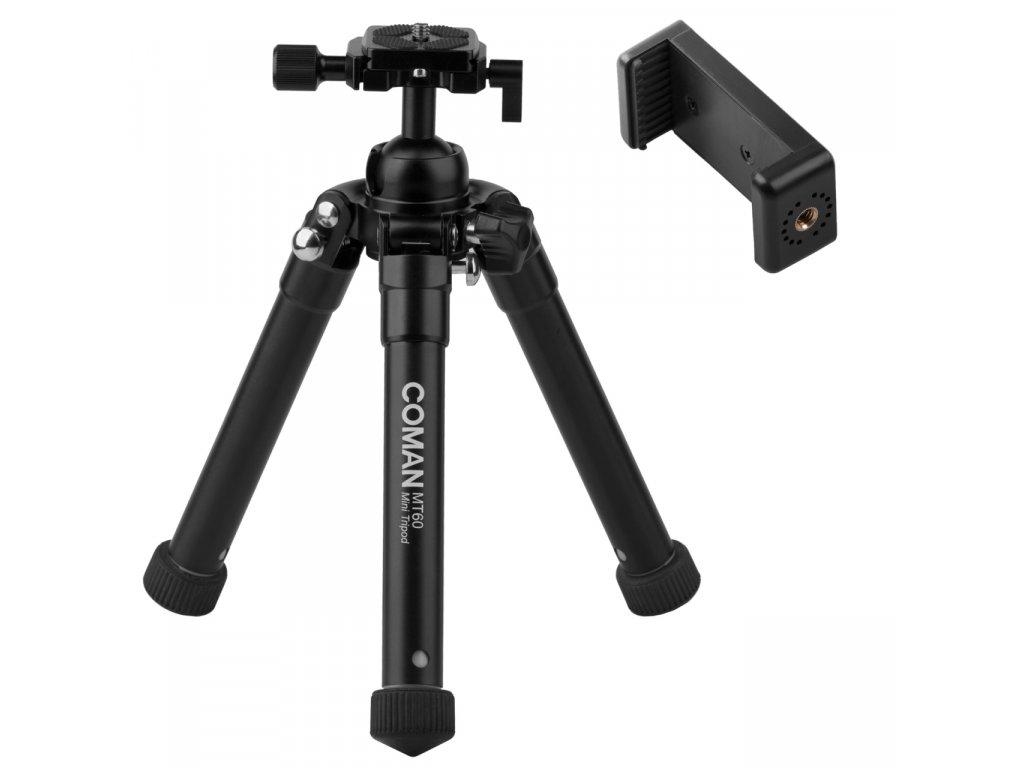 Fotografický statív - tripod Coman Mini (145 - 600mm - aluminium), čierny