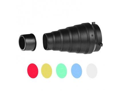 Komínok s farebnými filtrami a voštinou M1