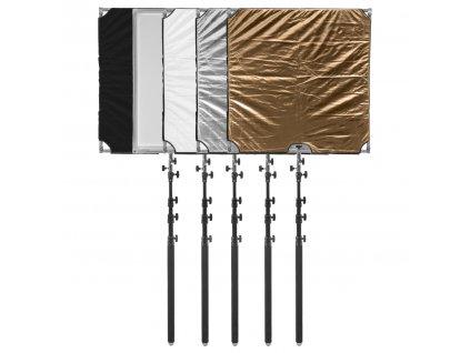 Mobilný odrazový panel 110x110cm set 5v1, rýchlorozkládaci