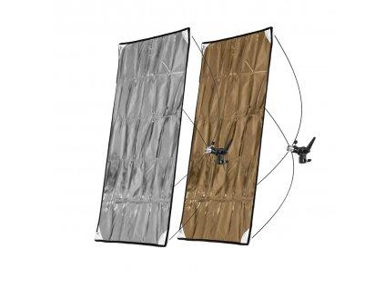 Odrazový panel 70x90cm zlato strieborný, rýchlo rozkladací