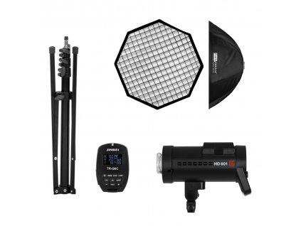 Batériový blesk HD 601 CANON set - blesk, odpaľovač, statív, softbox
