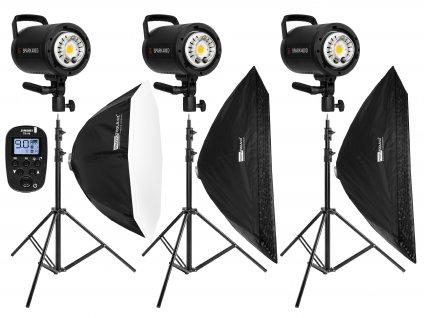 Set bleskov 3x SPARK 400D, statívy, odpaľovač, octabox, stripboxy