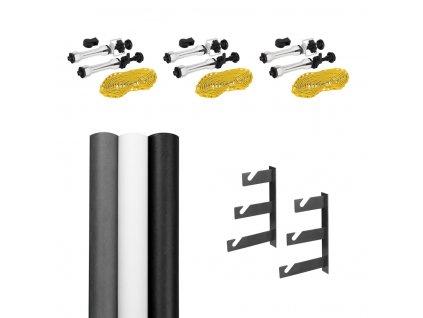 Držiak a tŕne pre zavesenie troch foto-pozadí na stenu + tri polypropylénové pozadia 2,75x5m