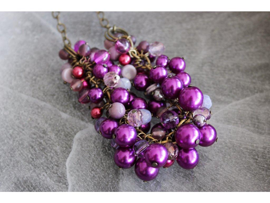 Fialový ketlovaný náhrdelník