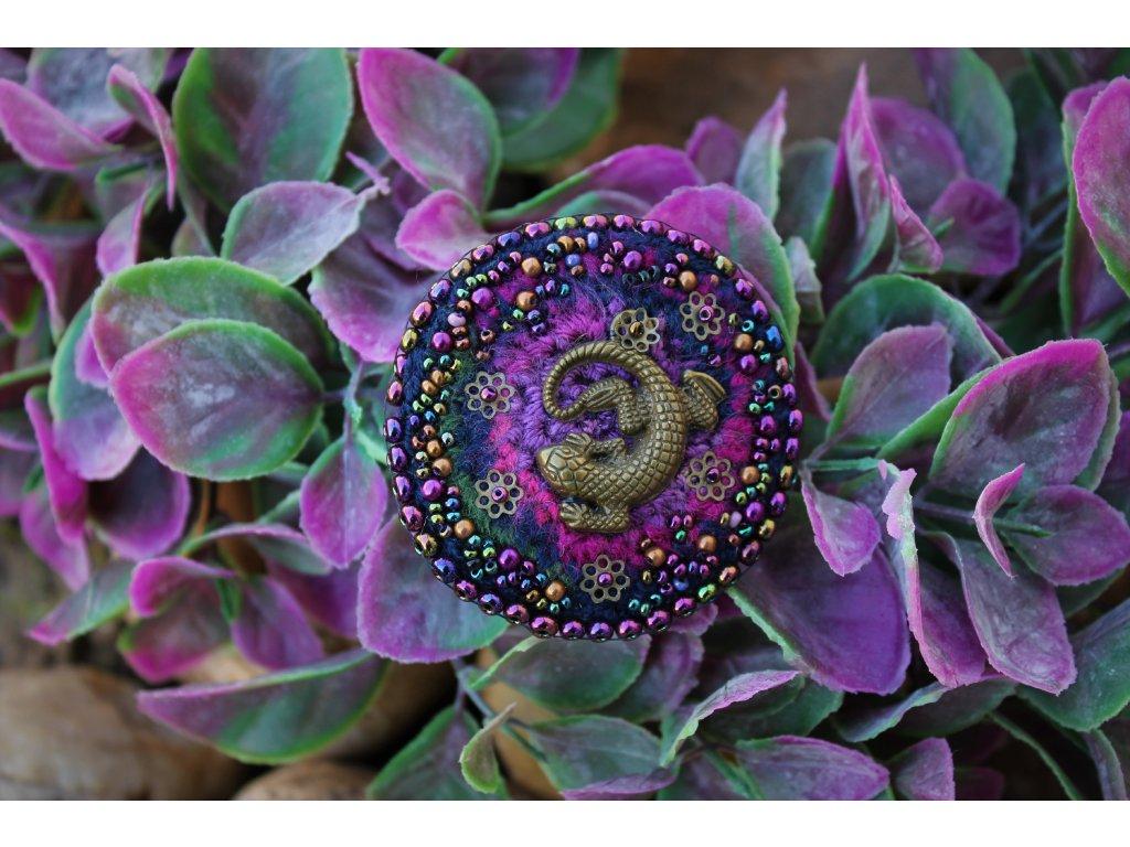 Brož salamander růžový