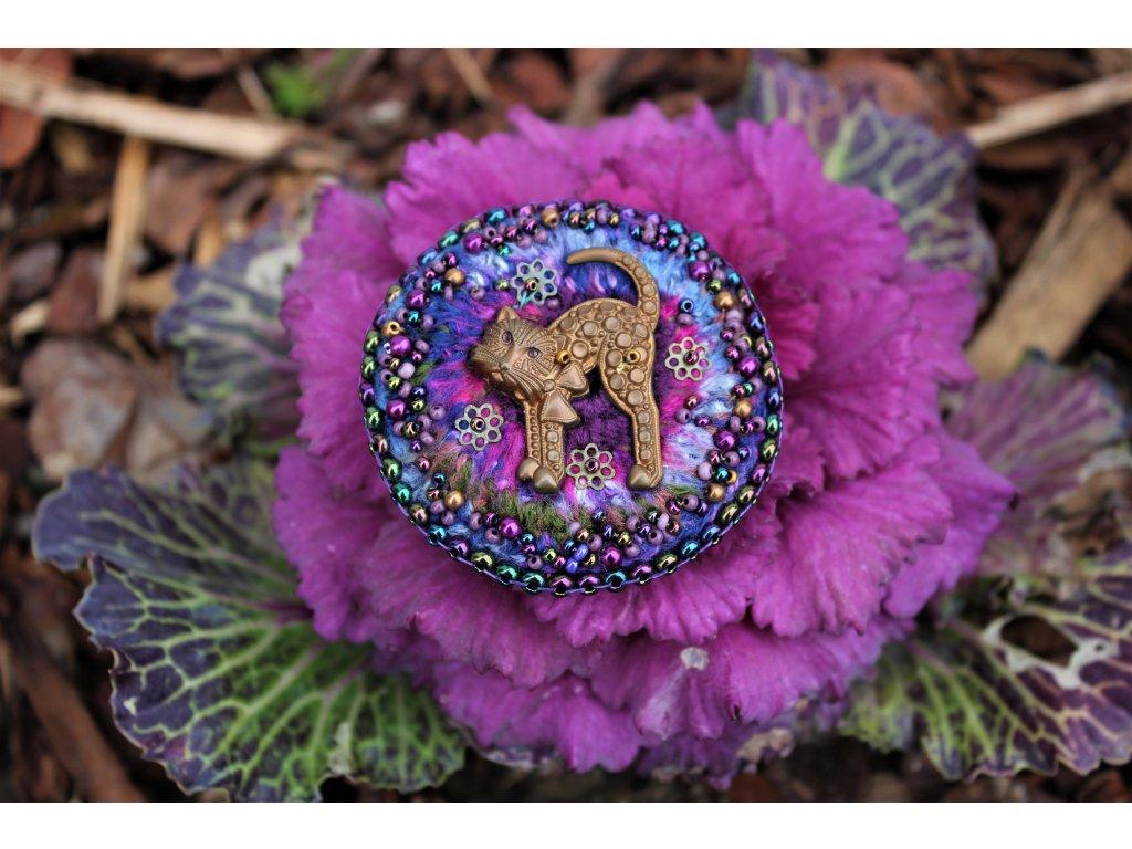Brož kočka fialová