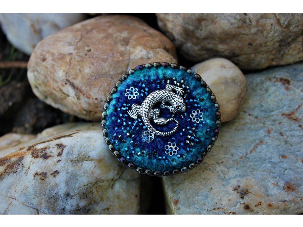 Brož salamander modrý