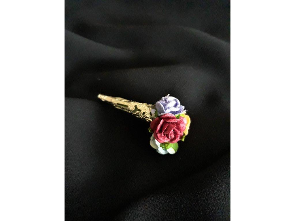 Brož malé barevné růže Hercules Poirot