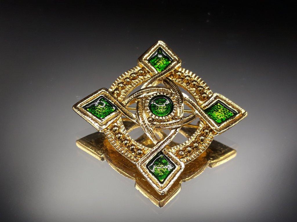 Brož zeleno zlatá