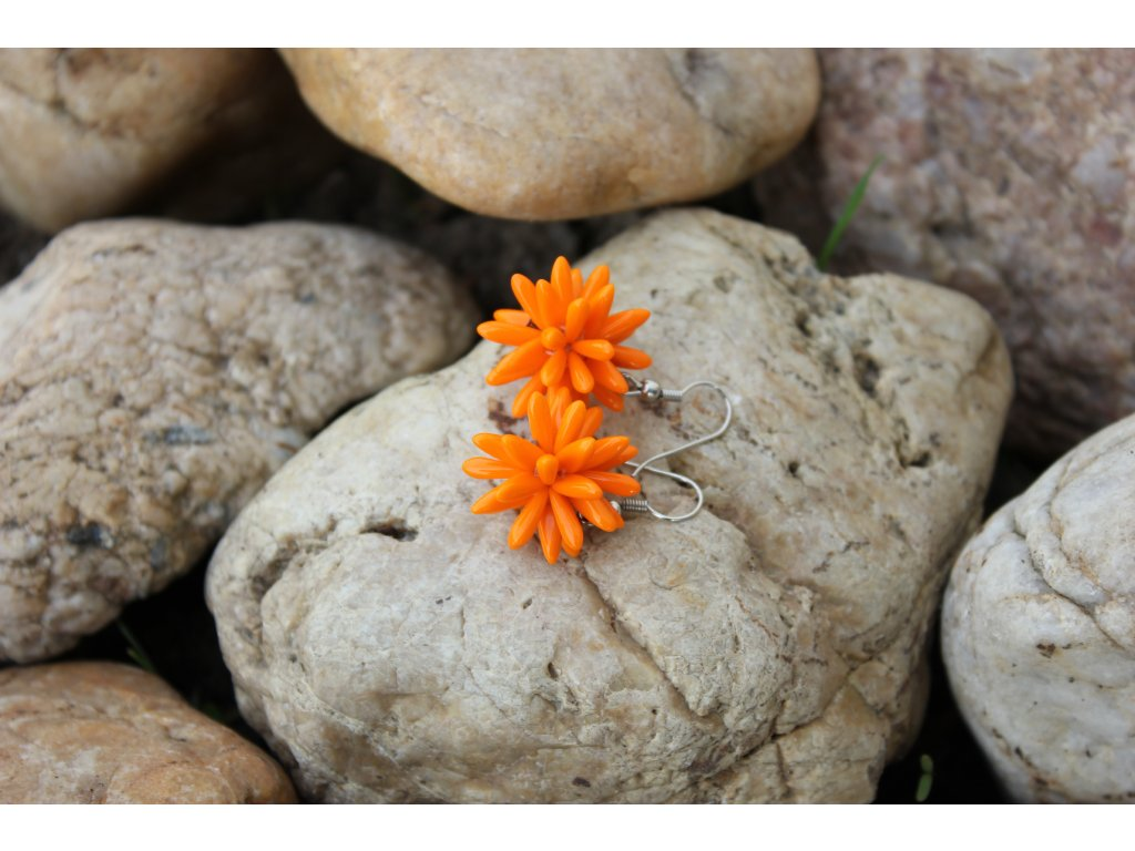 Náušnice ježek oranžový
