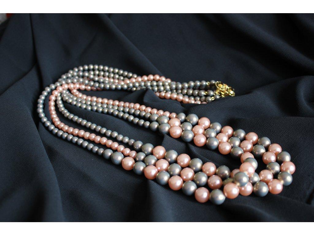 Náhrdelník vintage růžové perly
